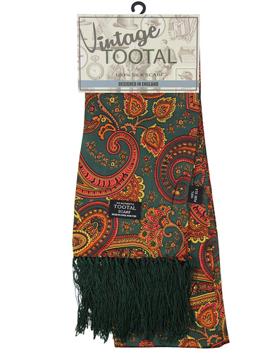 TOOTAL 1960s Retro Mod Floral Paisley Silk Scarf