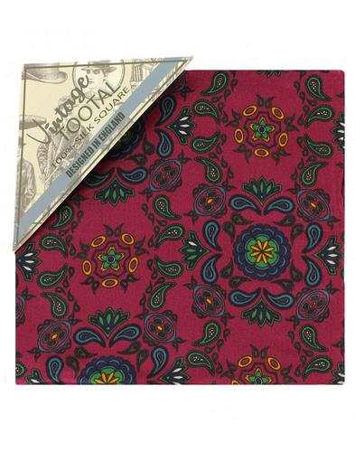 TOOTAL 60s Mod Paisley Silk Pocket Square Oxblood