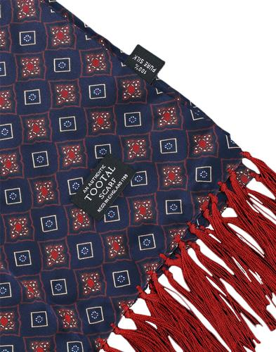TOOTAL Sixties Retro Mod Geo Tile Silk Scarf Navy