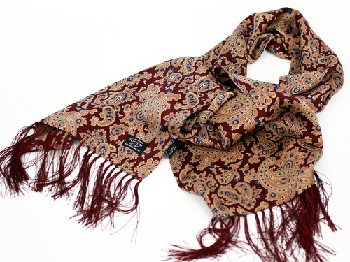 5fca73ac775 TOOTAL Burgundy Paisley Retro 60s Mod Silk Psychedelic Scarf