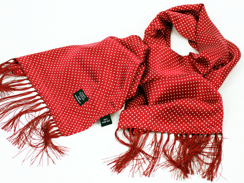 Red Pin Dot TOOTAL Retro Mod Polka Dot Silk Scarf