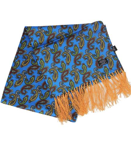 TOOTAL SCARF RETRO BLUE PAISLEY SILK SCARF