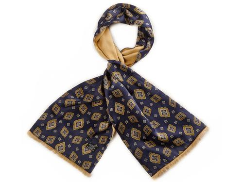 TOOTAL SCARF RETRO MOD PAISLEY SCARF NAVY