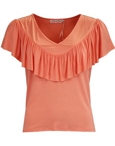 TRAFFIC PEOPLE Thrill Me Retro Frill Top SALMON