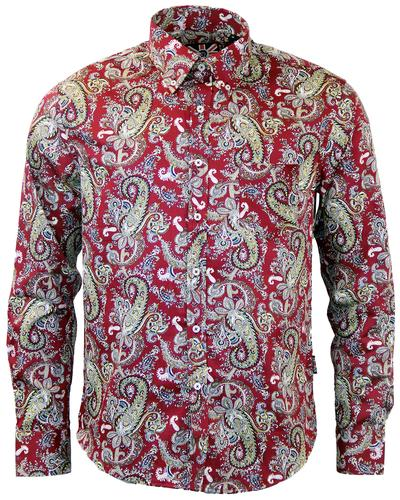 TROJAN RECORDS RETRO MOD PAISLEY SHIRT IN MAROON