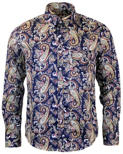 TROJAN RECORDS RETRO 60s MOD PAISLEY SHIRT IN NAVY