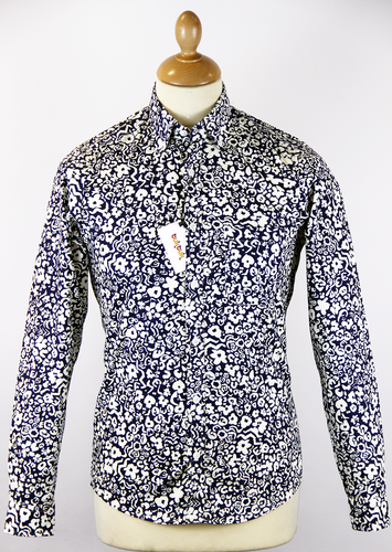 TukTuk All Over Floral Retro Psychedelic Mod Shirt