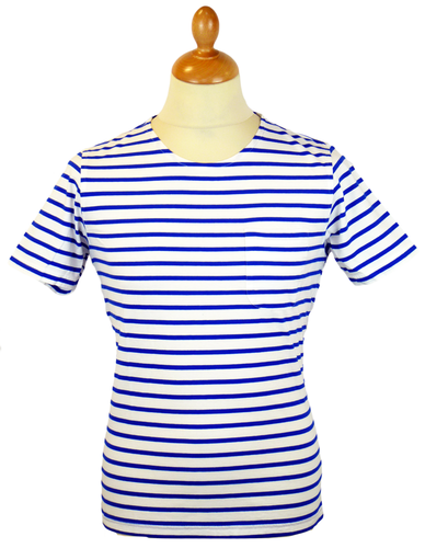 Nautical Stripe TukTuk Retro Indie Mod T-Shirt (W)