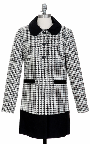 Royal TULLE Retro 60s Mod Dogtooth Check Coat