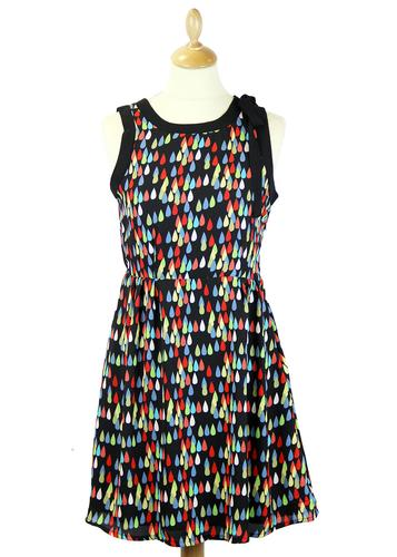 TULLE RETRO 60s MOD MULTI COLOUR RAINDROP DRESS