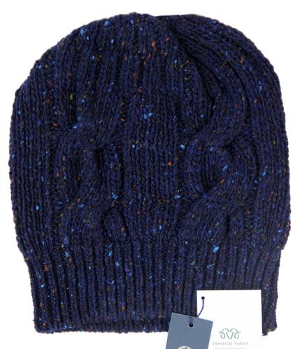 VIYELLA Retro Chunky Cable Knit Donegal Yarn Hat