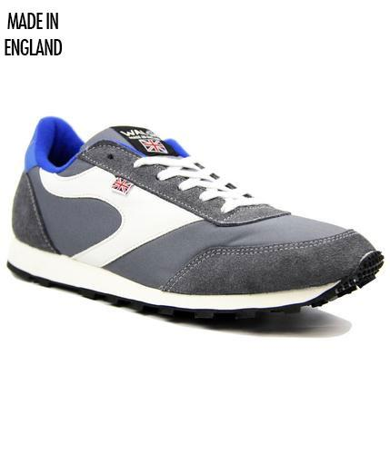 NORMAN WALSH GREY WHITE BLUE RETRO TRAINERS