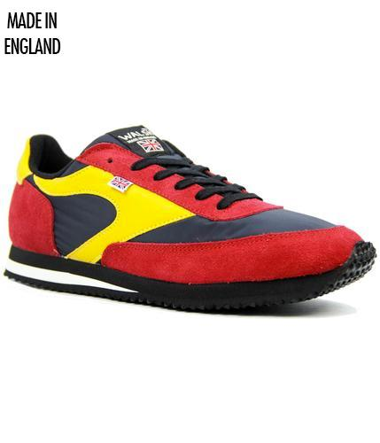 NORMAN WALSH NAVY RED YELLOW RETRO TRAINERS
