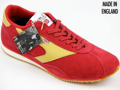 WALSH TRAINERS COBRA RACE RED SUEDE RETRO TRAINER