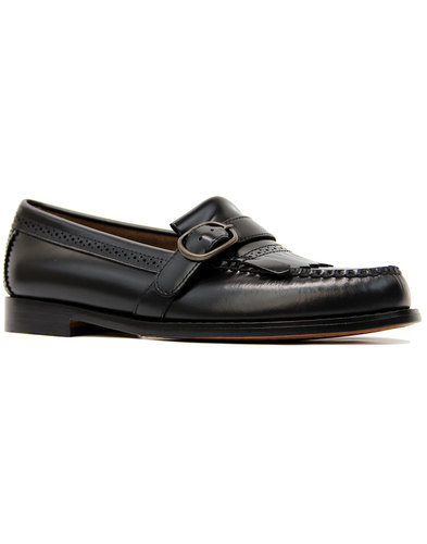 Langley BASS WEEJUNS 60s Mod Buckle Loafers BLACK