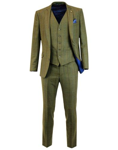 Retro Mod Windowpane Country Check Suit in Green