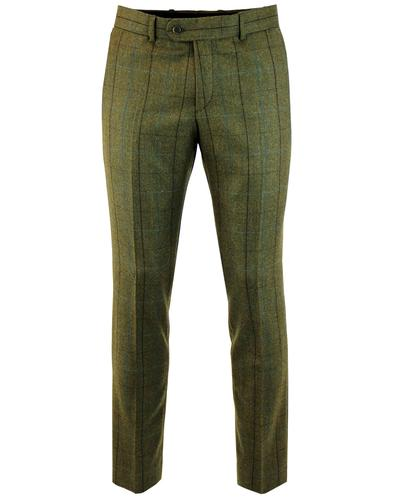 Retro Mod Windowpane Country Check Suit Trousers G