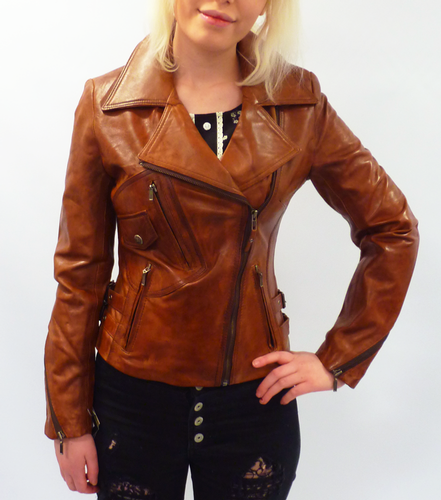 Rebecca Retro Seventies Indie Tan Short Leather Biker Jacket