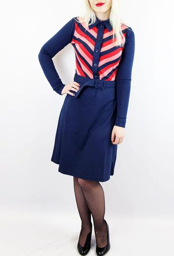 Shim Sham WHO'S THAT GIRL Retro 70s Chevron Dress