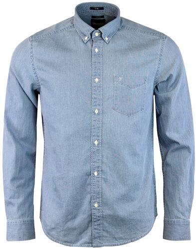 Wrangler men 39 s retro mod 1 pocket button down chambray shirt for Wrangler denim shirts uk