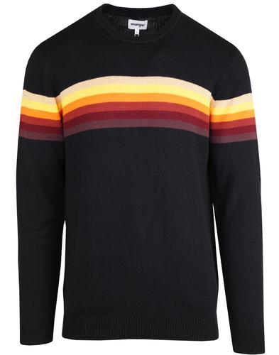 WRANGLER Retro 1970s Rainbow Stripe Knitted Jumper