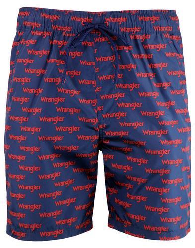 e7231657342ef WRANGLER Men's Retro All Over Logo Swim Shorts in Scarlet